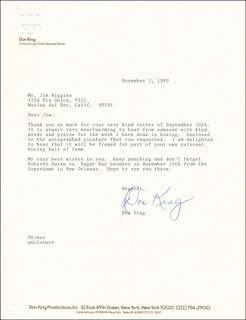 DON KING - TYPED LETTER SIGNED 11/02/1980