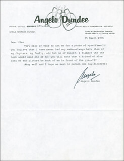ANGELO DUNDEE - TYPED LETTER SIGNED 03/25/1976