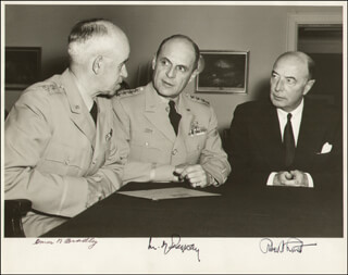 ROBERT A. LOVETT - AUTOGRAPHED SIGNED PHOTOGRAPH CO-SIGNED BY: GENERAL MATTHEW B. RIDGWAY, GENERAL OMAR N. BRADLEY