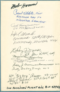 ENOLA GAY CREW (PAUL W. TIBBETS) - BOOK SIGNED CO-SIGNED BY: ENOLA GAY CREW (THEODORE VAN KIRK), GEORGE MCGOVERN, BRIGADIER GENERAL CHUCK YEAGER, BRIGADIER GENERAL ROBIN OLDS, COLONEL C. E. BUD ANDERSON, BRIGADIER GENERAL DAVID L. TEX HILL, EVERETT C. HARGREAVES, EDWARD W. GODFREY, FREDRIC ARNOLD, BOB HOOVER, COLONEL HAROLD E. HAL SHOOK, LT. GENERAL LEROY J. MANOR, MARGARET RAY RINGENBERG, FLORENCE G. SHUTSY REYNOLDS, BETTY J. OVERMAN, V. SCOTT BRADLEY GOUGH, H. P. BIG BOY ROUSE, STANLEY V. TINY HOLCOMB, DICK RASMUSSEN, ED LAUMER, COLONEL WILLIAM A. DANIEL, COLONEL CHARLES E. MCGEE, ROY R. FISHER, DAWN Y. SEYMOUR, FRED ZURBUCHEN, COLONEL HAROLD D. WEEKLY, BEN MAY, WALTER O. DAUFFENBACH, RAY CLINTON, TOM REED, WARREN FISHER, TOM GRETZ, GEORGE WALLIS, BOB RAGOTZKIE, EDWARD J. JA