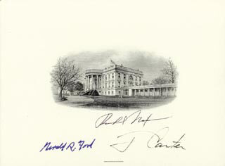 THE THREE PRESIDENTS - WHITE HOUSE ENGRAVING SIGNED CO-SIGNED BY: PRESIDENT JAMES E. JIMMY CARTER, PRESIDENT RICHARD M. NIXON, PRESIDENT GERALD R. FORD
