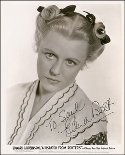 Autographs: EDNA BEST - INSCRIBED PHOTOGRAPH SIGNED CIRCA 1954