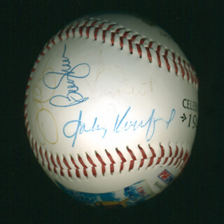 Autographs: SANDY KOUFAX - BASEBALL SIGNED CO-SIGNED BY: JIM PALMER, JOE TORRE, ERNIE MR. CUB BANKS, DEREK JETER