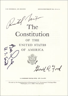 Autographs: PRESIDENT RICHARD M. NIXON - PAMPHLET SIGNED CIRCA 1975 CO-SIGNED BY: ROBERT J. BOB DOLE, PRESIDENT GERALD R. FORD