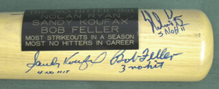 SANDY KOUFAX - BASEBALL BAT SIGNED CO-SIGNED BY: BOB FELLER, NOLAN RYAN