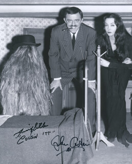 THE ADDAMS FAMILY TV CAST - AUTOGRAPHED SIGNED PHOTOGRAPH CO-SIGNED BY: JOHN ASTIN, FELIX (COUSIN ITT) SILLA