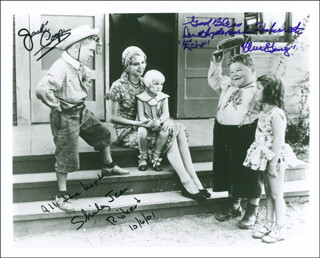 OUR GANG MOVIE CAST - AUTOGRAPHED SIGNED PHOTOGRAPH 10/06/2001 CO-SIGNED BY: JACKIE COOPER, DOROTHY DEBORBA, SHIRLEY JEAN RICKERT