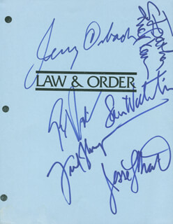 LAW AND ORDER TV CAST - SCRIPT PAGE SIGNED CO-SIGNED BY: SAM WATERSTON, JERRY ORBACH, S. EPATHA MERKERSON, FRED DALTON THOMPSON, JESSE L. MARTIN, ELISABETH ROHM