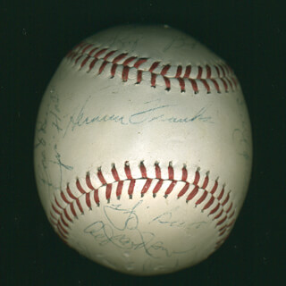 Autographs: GIL HODGES - BASEBALL SIGNED CO-SIGNED BY: YOGI BERRA, JOE CHRISTOPHER, JIM HICKMAN, PHIL SUPERSUB LINZ, ED CHARLES, JOE PIGNATANO, DON ZIMMER, HERMAN FRANKS, ED KRANEPOOL, BUD HARRELSON, WILLIE SAY HEY KID MAYS, TOMMIE AGEE, DEAN CHANCE, BILL SHORT, AL (ALVIN N.) JACKSON