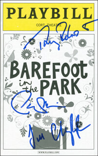 BAREFOOT IN THE PARK PLAY CAST - SHOW BILL SIGNED CO-SIGNED BY: TONY (ANTHONY) ROBERTS, JILL CLAYBURGH, PATRICK WILSON