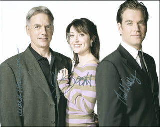 NCIS TV CAST - AUTOGRAPHED SIGNED PHOTOGRAPH CO-SIGNED BY: MARK HARMON, SASHA ALEXANDER, MICHAEL WEATHERLY