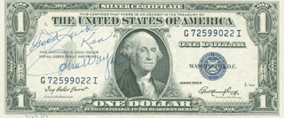 JOHN DUKE WAYNE - INSCRIBED CURRENCY SIGNED