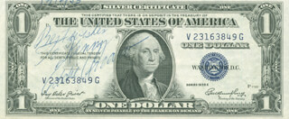 Autographs: EDDIE ARCARO - INSCRIBED CURRENCY SIGNED