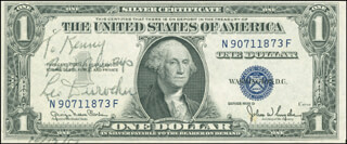 Autographs: LEO DUROCHER - INSCRIBED CURRENCY SIGNED