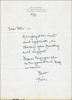 PRESIDENT WILLIAM J. BILL CLINTON - AUTOGRAPH LETTER SIGNED 09/15/1981