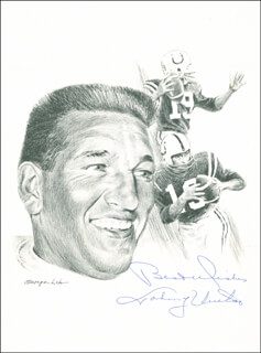JOHNNY UNITAS - PRINTED ART SIGNED IN INK