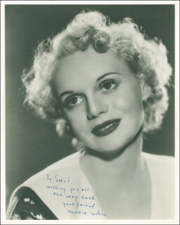 MARIE WILSON - AUTOGRAPHED INSCRIBED PHOTOGRAPH CIRCA 1938