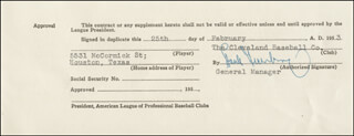 Autographs: HANK GREENBERG - DOCUMENT SIGNED 02/25/1953
