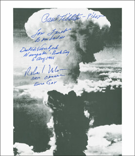 ENOLA GAY CREW - AUTOGRAPHED SIGNED PHOTOGRAPH CO-SIGNED BY: ENOLA GAY CREW (THEODORE VAN KIRK), ENOLA GAY CREW (RICHARD H. NELSON), ENOLA GAY CREW (PAUL W. TIBBETS), ENOLA GAY CREW (COLONEL THOMAS W. FEREBEE)