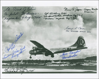 Autographs: ENOLA GAY CREW (PAUL W. TIBBETS) - PHOTOGRAPH SIGNED CO-SIGNED BY: ENOLA GAY CREW (THEODORE VAN KIRK), BOCK'S CAR CREW (CHARLES DONALD ALBURY), BOCK'S CAR CREW (LT. COLONEL FRED OLIVI), ENOLA GAY CREW (MORRIS JEPPSON), BOCK'S CAR CREW (RAYMOND GALLAGHER), ENOLA GAY CREW (GEORGE R. CARON), BOCK'S CAR CREW , ENOLA GAY CREW (COLONEL THOMAS W. FEREBEE)