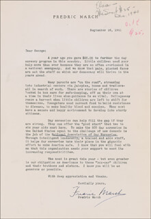 FREDRIC MARCH - TYPED LETTER SIGNED 09/18/1941