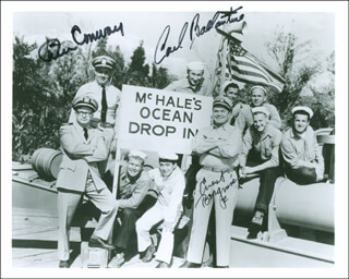 McHALE'S NAVY TV CAST - AUTOGRAPHED SIGNED PHOTOGRAPH CO-SIGNED BY: TIM CONWAY, ERNEST BORGNINE, CARL BALLANTINE