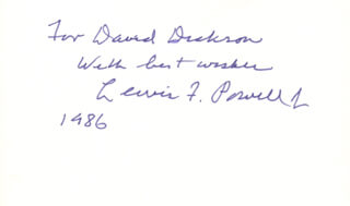 ASSOCIATE JUSTICE LEWIS F. POWELL JR. - INSCRIBED SIGNATURE 1986