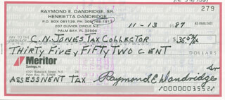 RAY DANDRIDGE - AUTOGRAPHED SIGNED CHECK 11/13/1987