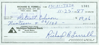 RICK FERRELL - AUTOGRAPHED SIGNED CHECK 11/25/1987  - HFSID 290088
