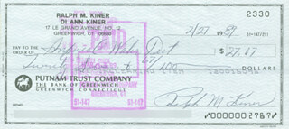 RALPH KINER - AUTOGRAPHED SIGNED CHECK 02/27/1989