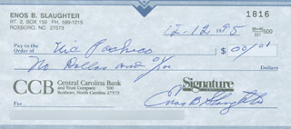 ENOS SLAUGHTER - AUTOGRAPHED SIGNED CHECK 12/12/1995