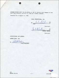 ROBERT DENIRO - DOCUMENT SIGNED 08/24/1989