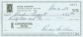 RICHIE WHITEY ASHBURN - AUTOGRAPHED SIGNED CHECK 12/16/1989  - HFSID 290098