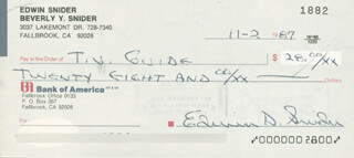 DUKE SNIDER - AUTOGRAPHED SIGNED CHECK 11/02/1987