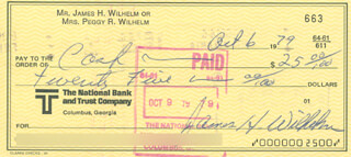 HOYT (JAMES) WILHELM - AUTOGRAPHED SIGNED CHECK 10/06/1979