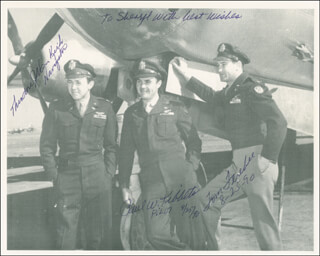 Autographs: ENOLA GAY CREW - INSCRIBED PHOTOGRAPH SIGNED 08/25/1990 CO-SIGNED BY: ENOLA GAY CREW (THEODORE VAN KIRK), ENOLA GAY CREW (PAUL W. TIBBETS), ENOLA GAY CREW (COLONEL THOMAS W. FEREBEE)