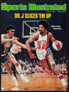 JULIUS DR. J. ERVING - MAGAZINE COVER SIGNED