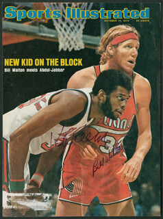 Autographs: KAREEM ABDUL-JABBAR - MAGAZINE COVER SIGNED CO-SIGNED BY: BILL WALTON