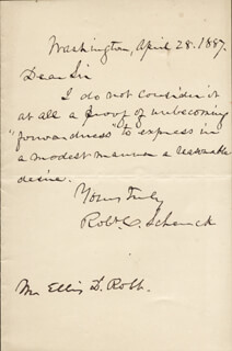 MAJOR GENERAL ROBERT C. SCHENCK - AUTOGRAPH LETTER SIGNED 04/28/1887