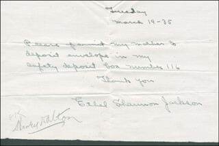 ETHEL JACKSON - AUTOGRAPH NOTE SIGNED 03/19/1935