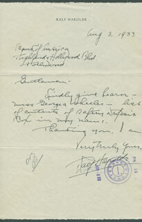 RALF HAROLDE - AUTOGRAPH LETTER SIGNED 08/03/1933