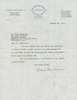 Autographs: RICHARD BARTHELMESS - TYPED LETTER SIGNED 10/22/1930
