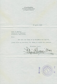 NEIL HAMILTON - TYPED LETTER SIGNED 04/15/1932