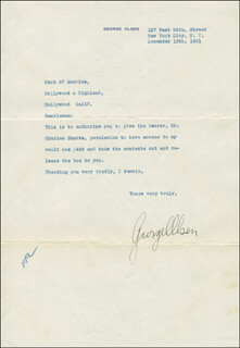 GEORGE OLSEN - TYPED LETTER SIGNED 12/12/1931