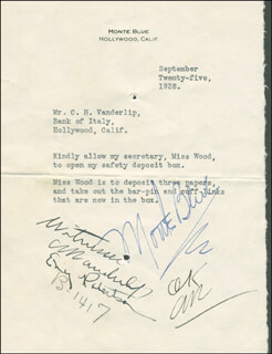 Autographs: MONTE BLUE - TYPED LETTER SIGNED 09/25/1928