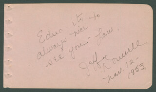 JEFF DONNELL - AUTOGRAPH NOTE SIGNED 11/12/1953