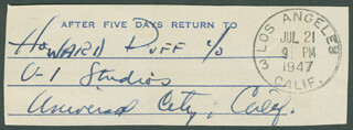 HOWARD DUFF - AUTOGRAPH FRAGMENT SIGNED CIRCA 1947