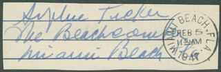 SOPHIE TUCKER - AUTOGRAPH FRAGMENT SIGNED CIRCA 1947