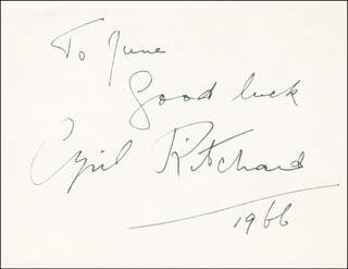 CYRIL RITCHARD - AUTOGRAPH NOTE SIGNED 1966