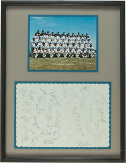 Autographs: DALLAS COWBOYS - SIGNATURE(S) CIRCA 1972 CO-SIGNED BY: MIKE DITKA, WALT GARRISON, HERB ADDERLEY, BOB LILLY, CRAIG MORTON, ROGER STAUBACH, DAN REEVES, MEL RENFRO, LEE ROY JORDAN, JETHRO PUGH, LARRY COLE, BILLY TRUAX, TOM STINCIC, RODNEY WALLACE, CHARLIE WATERS, D.D. LEWIS, CHUCK HOWLEY, CLIFF HARRIS, TODY SMITH, JOHN NILAND, BOB HAYES, RAYFIELD WRIGHT, CLAXTON WELCH, DON TALBERT, JOHN FITZGERALD, GEORGE ANDRIE, MIKE CLARK, BLAINE NYE, CALVIN HILL, MARK WASHINGTON, DAVE MANDERS, JOE WILLIAMS